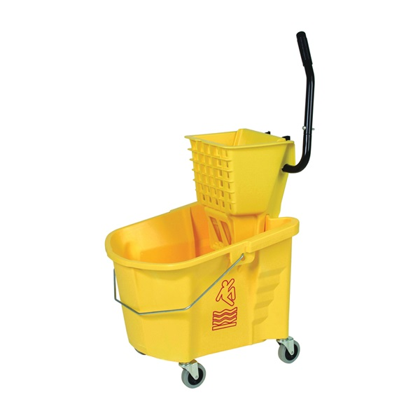 Picture of CONTINENTAL COMMERCIAL Splash Guard 335-312YW Mop Bucket Combo, 35 qt Capacity, Plastic Bucket/Pail, Plastic Wringer