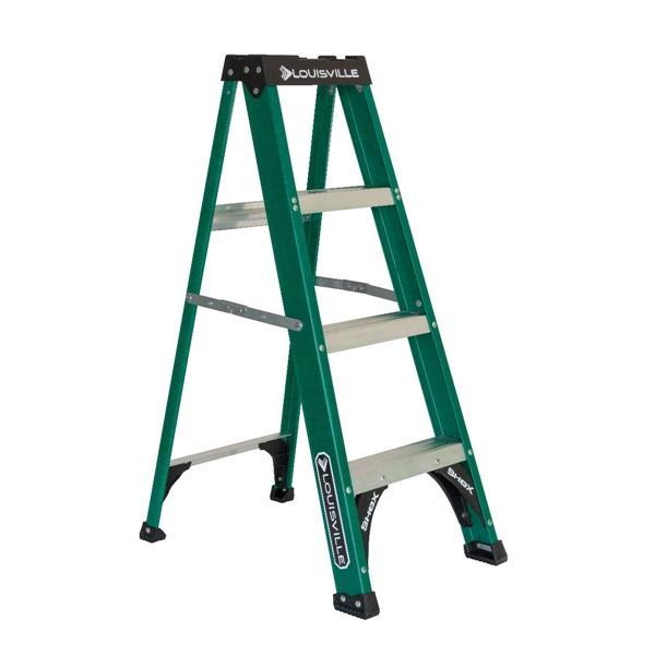 Picture of Louisville FS4004 Step Ladder, 102 in Max Reach H, 3-Step, 225 lb, Type II Duty Rating, 3 in D Step, Fiberglass