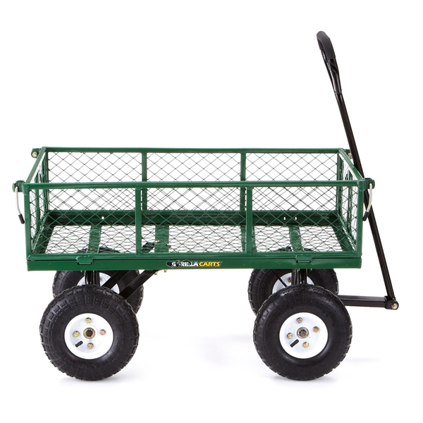 Picture of Gorilla Carts GOR400 Yard Cart with Fold Down Sides, 400 lb, 34 in L x 18 in W Deck, Steel Deck, 4 -Wheel, Green