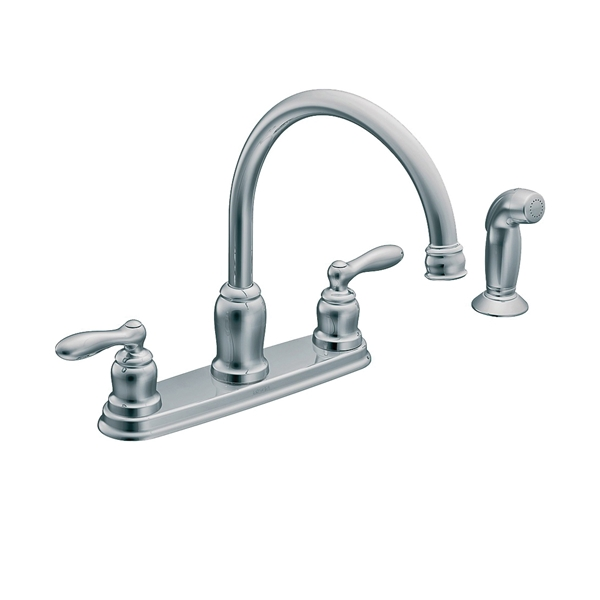 Picture of Moen Caldwell CA87888 Kitchen Faucet, 1.5 gpm, 2-Faucet Handle, Stainless Steel, Chrome, Deck Mounting
