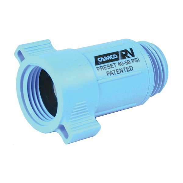 Picture of CAMCO 40143 Water Pressure Regulator, 3/4 in ID, Female x Male, 40 to 50 psi Pressure, ABS, Blue