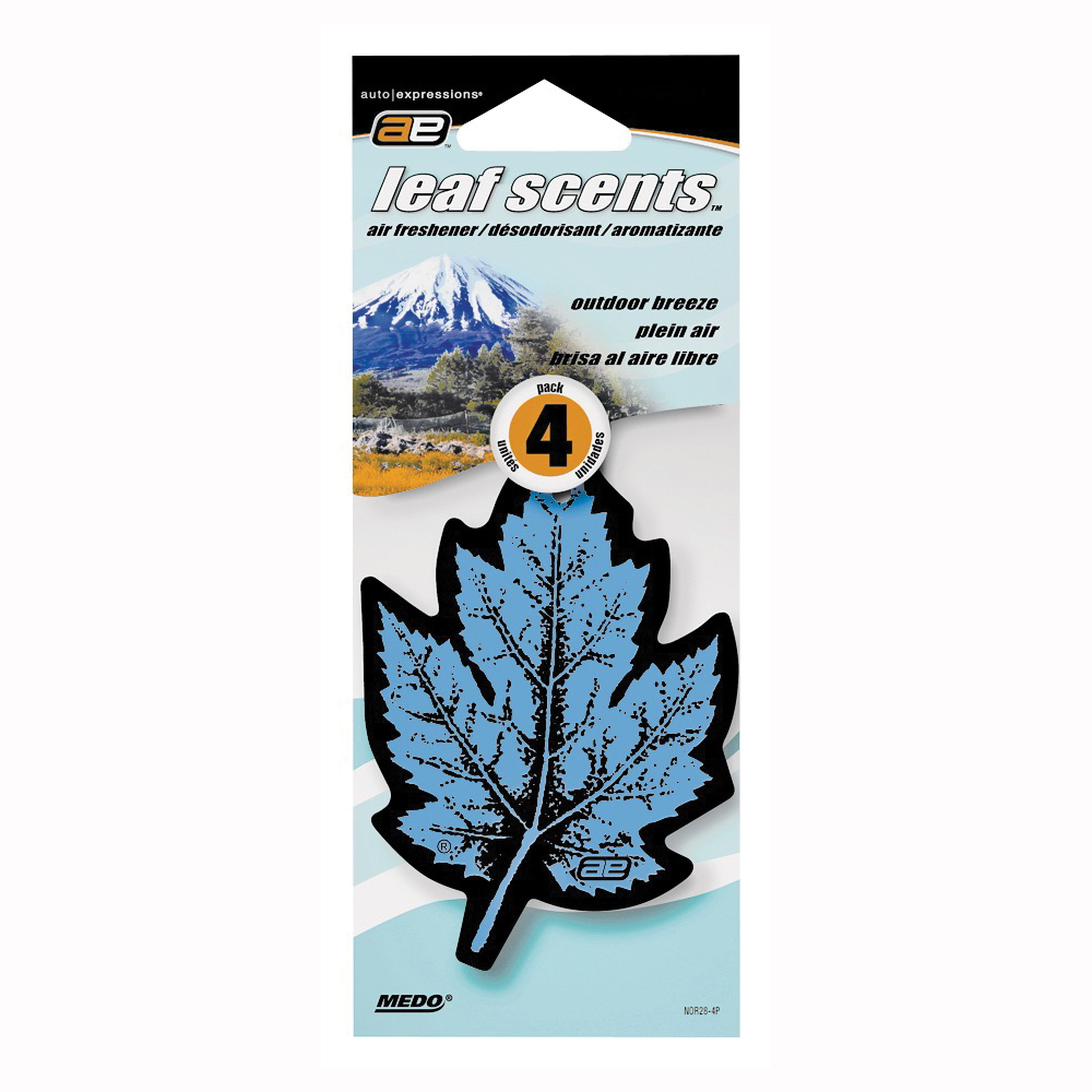 Picture of Auto Expressions Leaf Scents NOR28-4P/NOR28 Air Freshener, Outdoor Breeze