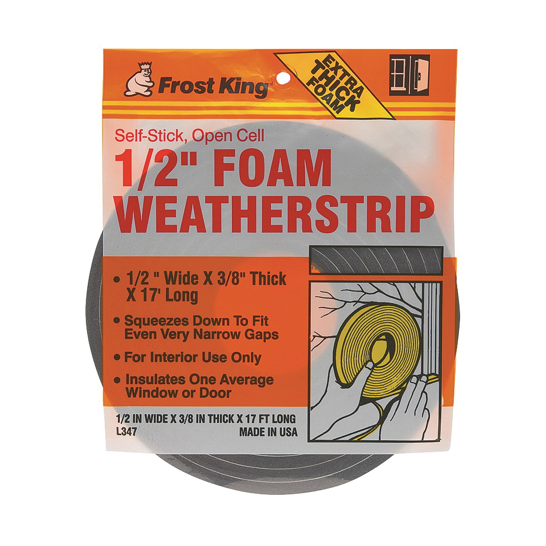 Picture of Frost King L346 Foam Tape, 3/4 in W, 17 ft L, 1/2 in Thick, Polyfoam, Charcoal