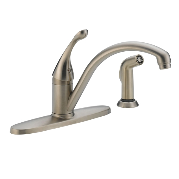 Picture of DELTA COLLINS 440-SS-DST Kitchen Faucet with Side Spray, 1.8 gpm, 1-Faucet Handle, Brass, Stainless Steel