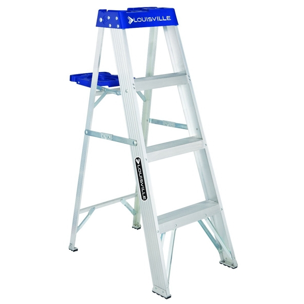 Picture of Louisville AS2104 Step Ladder, 102 in Max Reach H, 3-Step, 250 lb, Type I Duty Rating, 3 in D Step, Aluminum