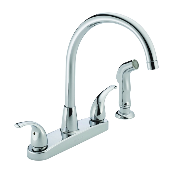 Picture of DELTA Peerless Tunbridge P299578LF Kitchen Faucet, 1.8 gpm, 2-Faucet Handle, Chrome, Deck Mounting, Lever Handle