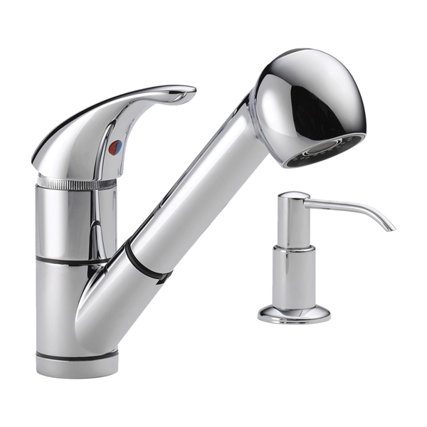 Picture of DELTA Peerless P18550LF-SD Kitchen Faucet, 1.8 gpm, 1-Faucet Handle, Chrome, Deck Mounting, Lever Handle