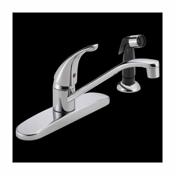 Picture of DELTA P115LF Kitchen Faucet with Side Spray, 1.8 gpm, 1-Faucet Handle, Chrome, Deck Mounting, Lever Handle