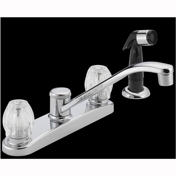 Picture of DELTA P225LF Kitchen Faucet with Side Spray, 1.8 gpm, 2-Faucet Handle, Chrome, Deck Mounting, Knob Handle