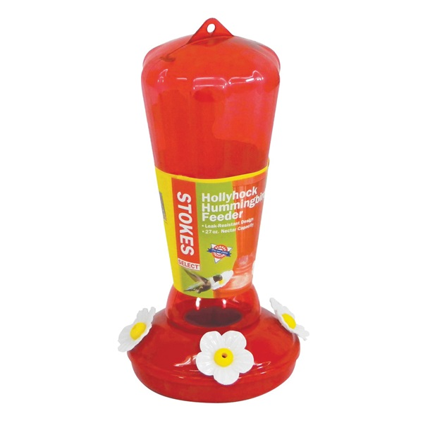 Picture of Stokes Select More Birds 38104 Hummingbird Feeder, 25 oz, 4-Port/Perch, Plastic, Red, 9.97 in H
