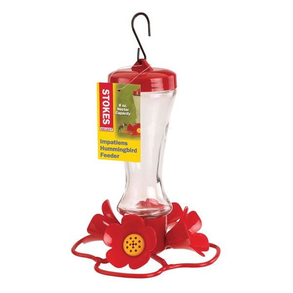 Picture of Stokes Select More Birds 38235 Hummingbird Feeder, Impatiens, 8 oz, 4-Port/Perch, Glass/Plastic, Red, 8.2 in H
