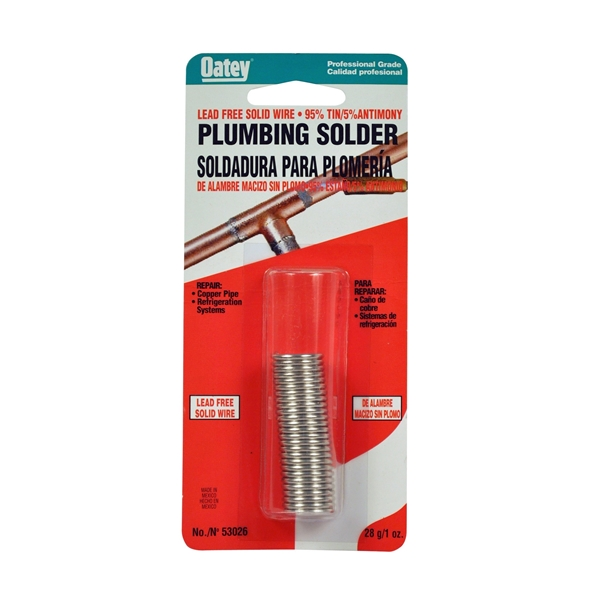 Picture of Oatey 53026 Plumbing Wire Solder, 1 oz Package, Carded, Solid, Silver, 450 to 464 deg F Melting Point