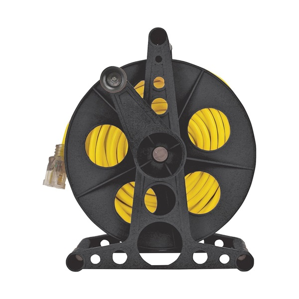 Picture of PowerZone ORCR3002 Cord Storage Reel with Stand, 100 ft L Cord, Black