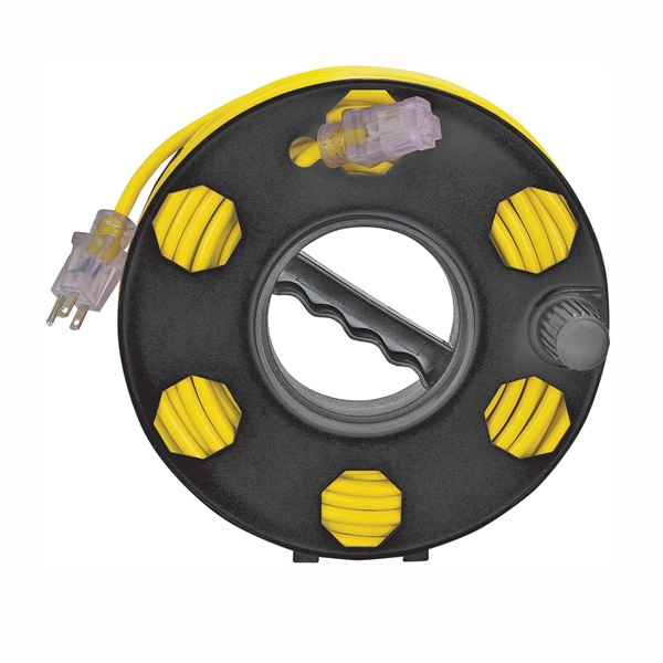 Picture of PowerZone ORCR2002 Cord Storage Reel, 100 ft L Cord, 16 AWG Wire, Black