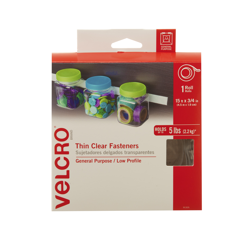 Picture of VELCRO Brand 91325 Fastener, 3/4 in W, 15 ft L, Clear, 5 lb