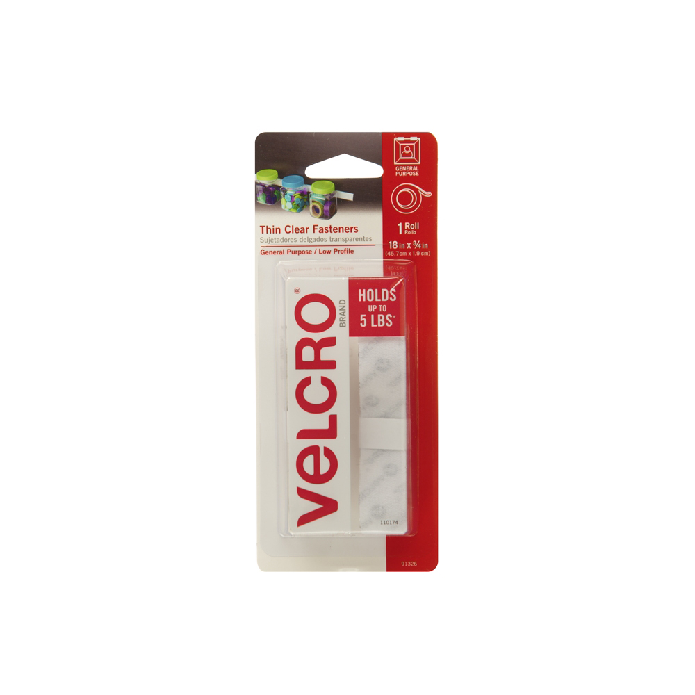 Picture of VELCRO Brand 91326 Fastener, 3/4 in W, 18 in L, Clear, 5 lb