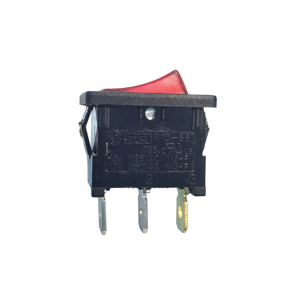 Picture of GB GSW Series GSW-48 Rocker Switch, 10/13 A, 125/250 V, SPST, 0.52 x 0.776 in Panel Cutout, Nylon Housing Material