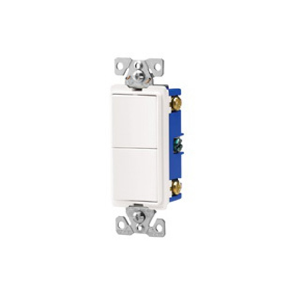Picture of EATON 7728LA-SP Combination Switch, 15 A, 120, 277 VAC, 3-Way, Screw Terminal, Light Almond