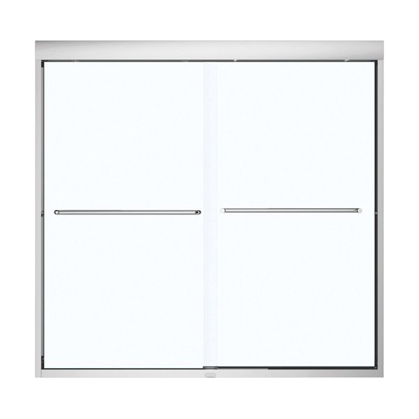 Picture of MAAX Aura 135661-900-084000 Bathtub Door, Semi Frame, Clear Glass, Bypass/Sliding Door, 1/4 in Glass