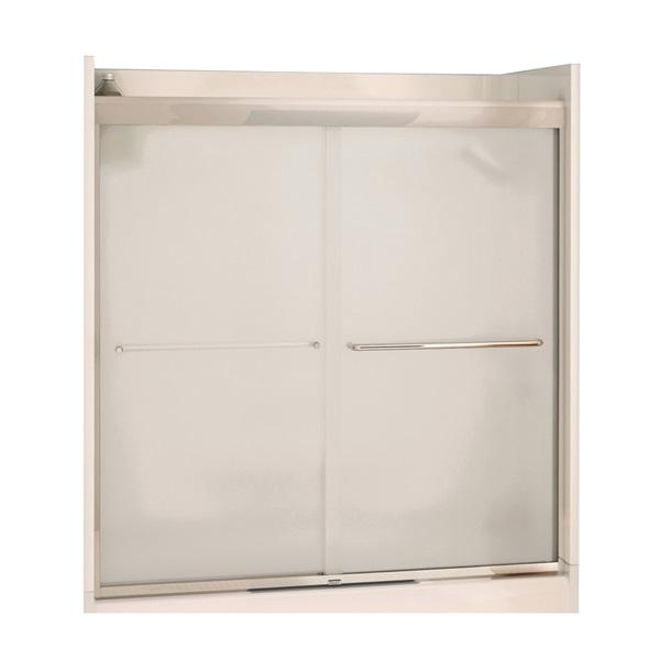 Picture of MAAX Aura 135661-981-084 Bathtub Door, Semi Frame, Mistelite Glass, Bypass/Sliding Door, 1/4 in Glass