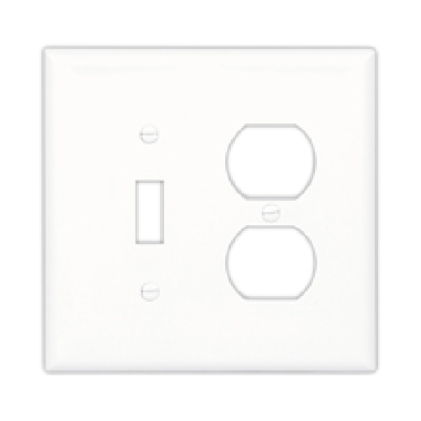 Picture of Eaton Wiring Devices PJ826LA Combination Wallplate, 4.9 in L, 4.86 in W, Mid, 2-Gang, Polycarbonate, Light Almond
