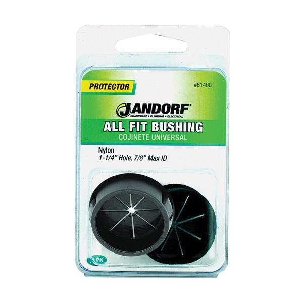 Picture of Jandorf 61400 Conduit Bushing, 7/8 in Dia Cable, Nylon, Black, 1-1/4 in Dia Panel Hole, 0.453 in Thick Panel