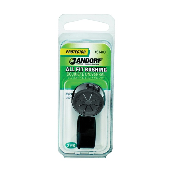 Picture of Jandorf 61403 Conduit Bushing, 9/16 in Dia Cable, Nylon, Black, 7/8 in Dia Panel Hole, 0.453 in Thick Panel