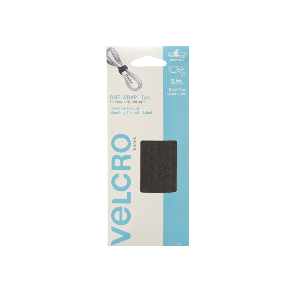Picture of VELCRO Brand One Wrap 91426 Fastener, 1/2 in W, 8 in L, Black