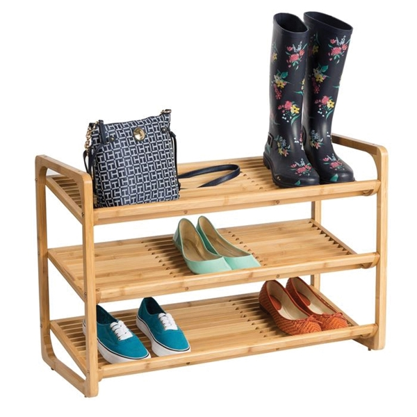 Picture of Honey-Can-Do SHO-01599 Shoe Rack, 3-Shelf, 36 in W, 24 in H, Bamboo, Brown