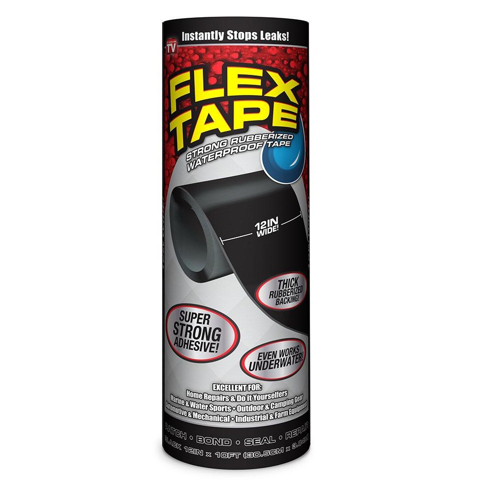 Picture of FLEX TAPE TFSBLKR1210 Waterproof Tape, 10 ft L, 12 in W, Rubber Backing