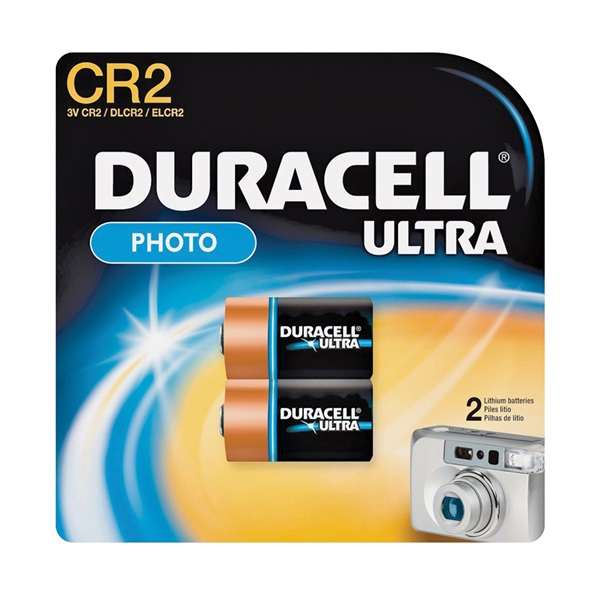 Picture of DURACELL DLCR2B2PK Lithium Battery, 3 V Battery, 780 mAh, CR2 Battery, Manganese Dioxide