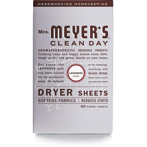 Picture of Mrs. Meyer's Clean Day 014148 Dryer Sheet, Lavender, 80