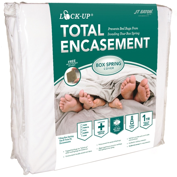 Picture of J.T. EATON Lock-Up 80TWBOX Box Spring Encasement, Twin, Fabric, White