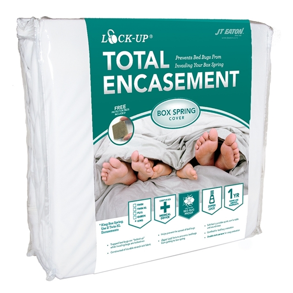 Picture of J.T. EATON Lock-Up 80QUBOX Box Spring Encasement, Queen, Fabric, White