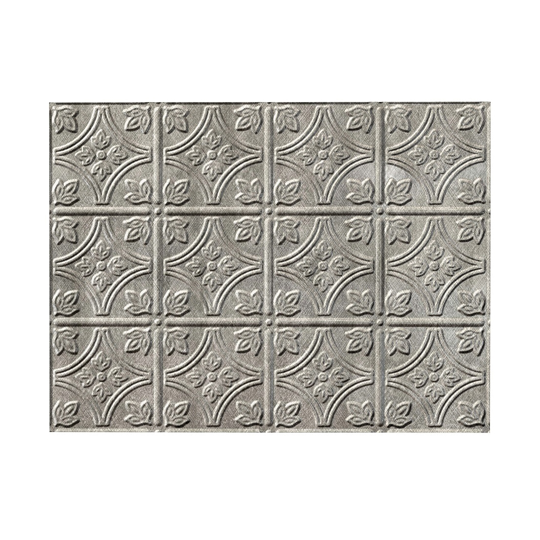 Picture of Fasade D6021 Backsplash Panel, 24 in L, 18 in W, Thermoplastic, Silver