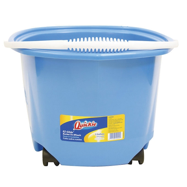 Picture of Quickie EZ-Glide 20000 Bucket with Wheel, 5 gal Capacity, Round, Plastic Bucket/Pail