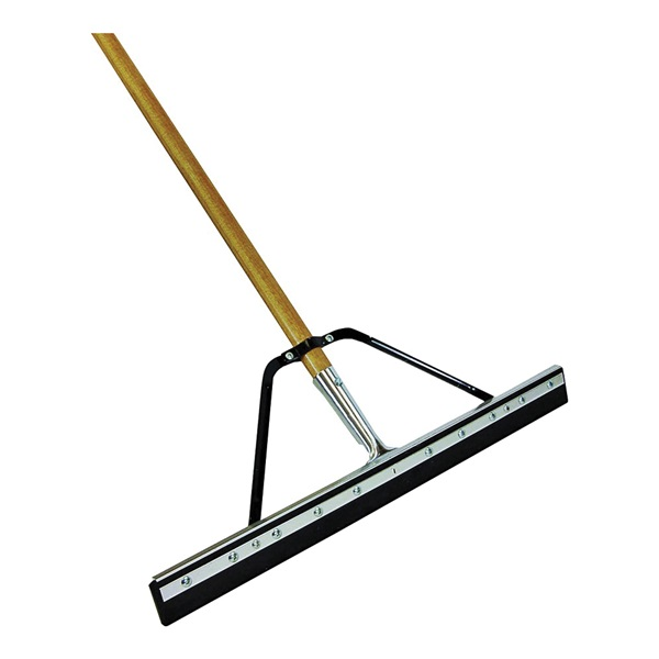 Picture of Quickie 016HDSU Floor Squeegee, 24 in Blade, Flat Blade, Steel Blade, Wood Handle