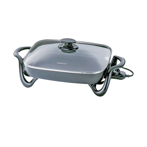 Picture of Presto 06852 Electric Skillet with Cover, 15-3/4 in W Cooking Surface, 11-3/4 in D Cooking Surface, 1500 W