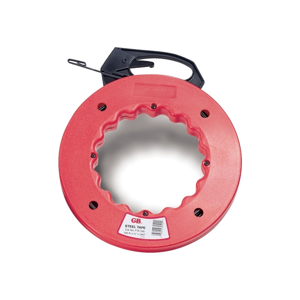 Picture of GB FTS Series FTS-50B Fish Tape, 1/8 in Tape, 50 ft L Tape, Steel Tape, Red Case