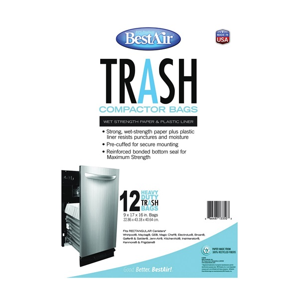 Picture of BestAir WMCK1335012-6 Trash Compactor Bag, 1.4 cu-ft Capacity, Paper, White, 16 in L, 9 in W