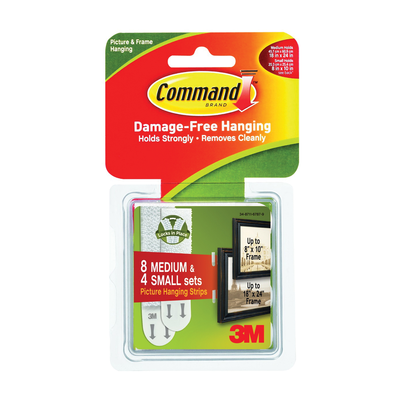 Picture of Command 17203 Picture Hanging Strip, Foam/Plastic, White, 24, Pack