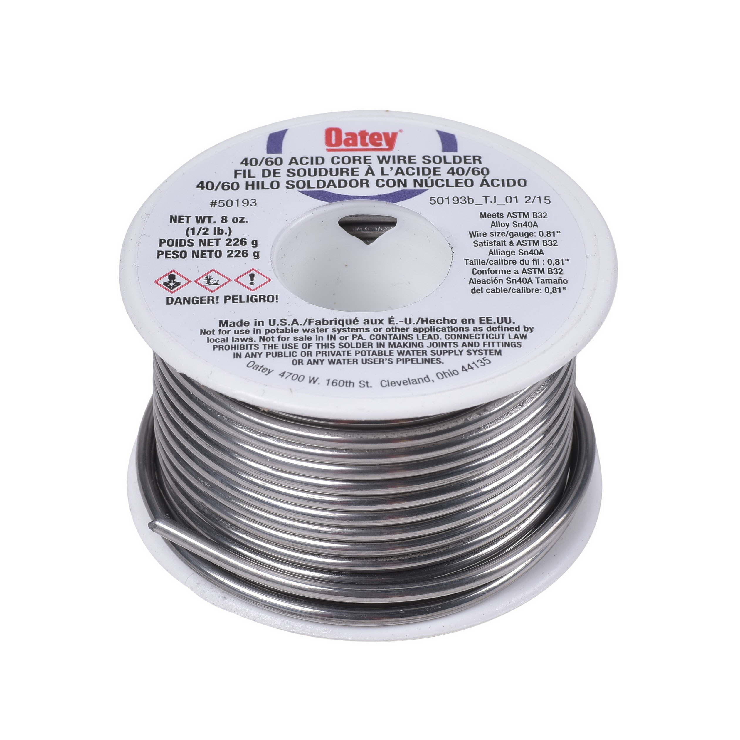 Picture of Oatey 50193 Acid Core Wire Solder, 1/2 lb Package, Solid, Silver, 360 to 460 deg F Melting Point