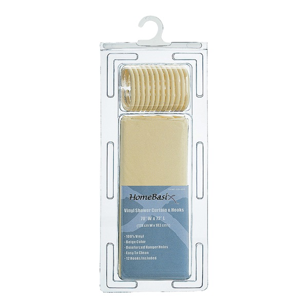 Picture of Simple Spaces SD-626BG-3L Shower Curtain, 72 in L, 70 in W, PVC/Vinyl, Beige