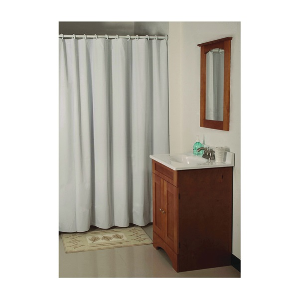 Picture of Simple Spaces SD-MCP01-W3L Shower Curtain, 72 in L, 70 in W, Vinyl, White
