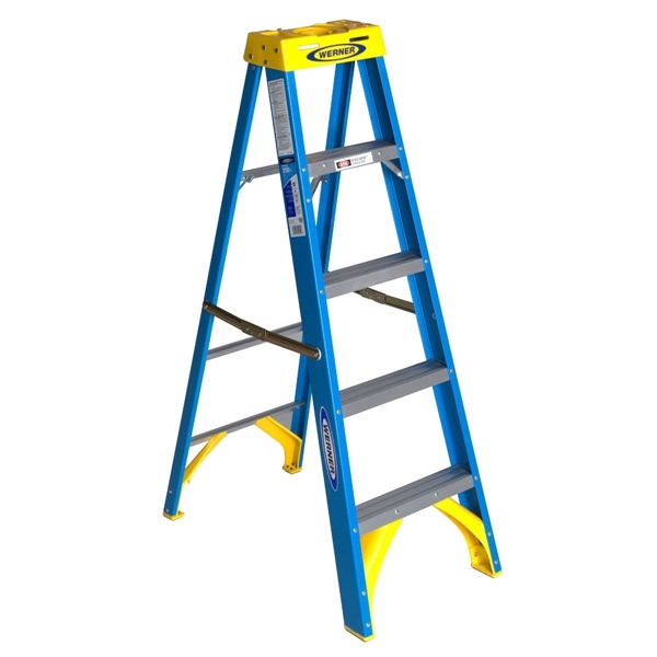 Picture of WERNER 6005 Step Ladder, 9 ft Max Reach H, 4-Step, 250 lb, Type I Duty Rating, 3 in D Step, Fiberglass, Blue