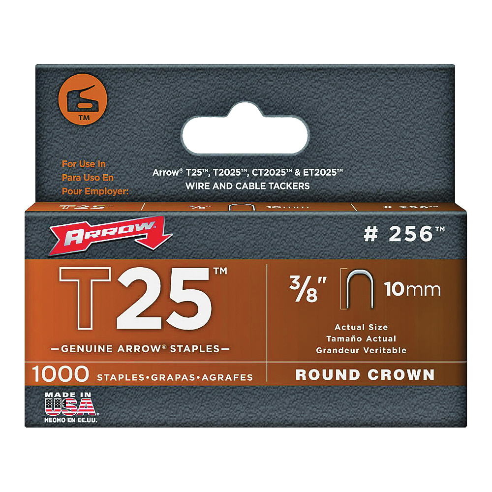 Picture of Arrow 256 Round Crown Staple, 5/16 in W Crown, 3/8 in L Leg, Steel, 1000, Pack