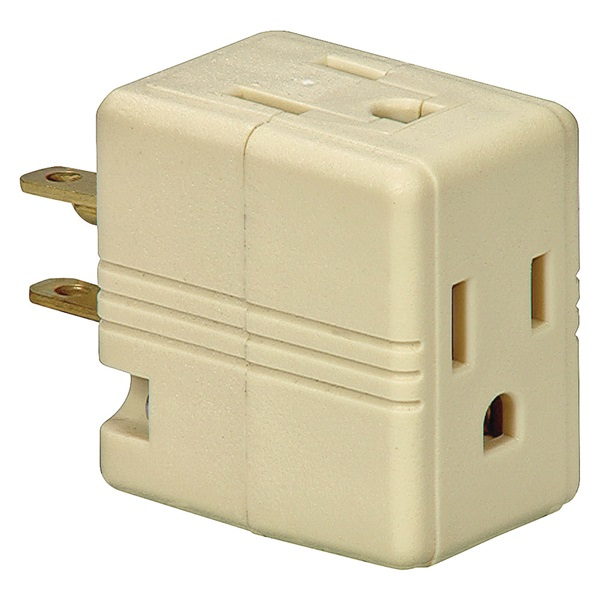 Picture of Eaton Wiring Devices 1482V-BOX Outlet Tap, 2-Pole, 15 A, 125 V, 3-Outlet, NEMA: 1-15R, Ivory