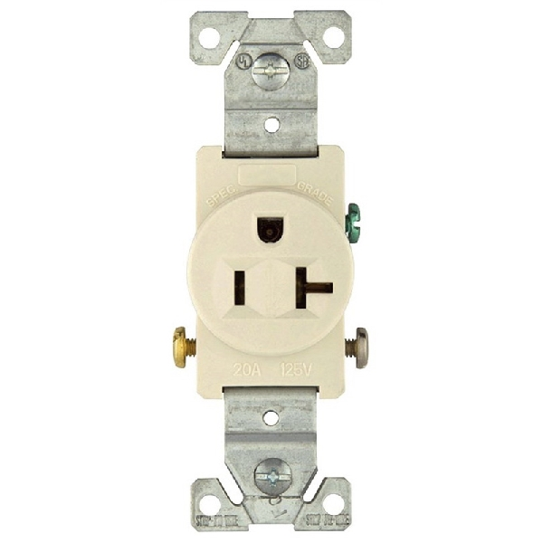 Picture of Eaton Wiring Devices 1877LA Single Receptacle, 2-Pole, 125 VAC, 20 A, Side Wiring, NEMA: 5-20R, Light Almond