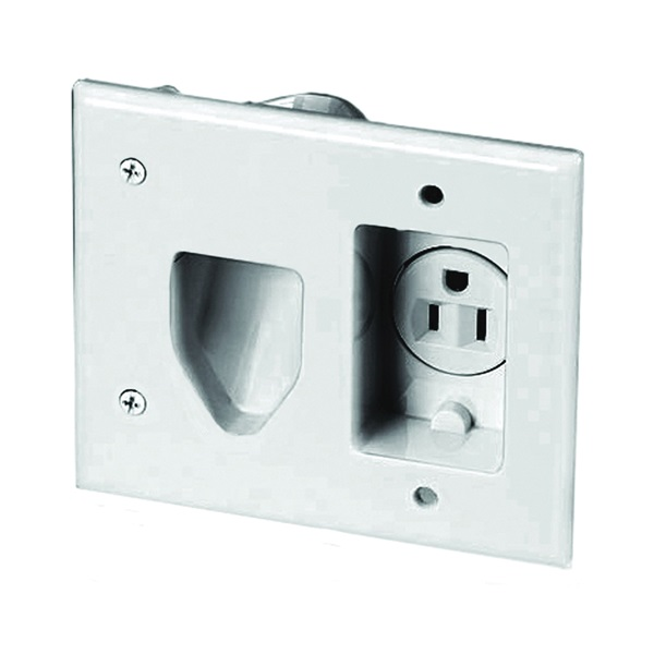 Picture of Eaton Wiring Devices 35MRW Cable Plate with Receptacle, 2-Gang, White