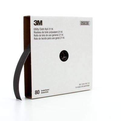 Picture of 3M 211K Series 05030 Utility Cloth Roll, 50 yd L, 1-1/2 in W, 80 Grit, Medium, Aluminum Oxide Abrasive